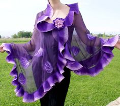 Felt Flower Scarf, Nuno Felt Scarf, Felt Flowers, Felted Scarf, Purple Dress Accessories, Barbie Fashion Royalty, Purple Scarves, Wool Art, Nuno Felting