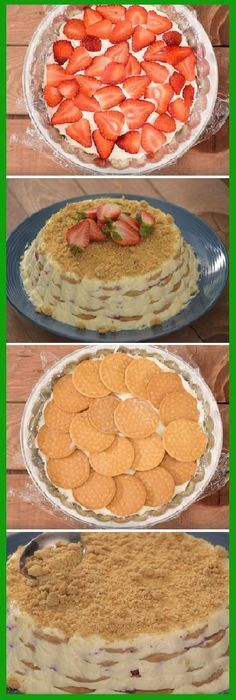 You are the best carlota that you will try in your life is this: STRAWBERRY CARLOTA WITH CREAM You prepare it in minutes and enjoy it for hours! Easy Desserts, Delicious Desserts, Dessert Recipes, Yummy Food, Mexican Dishes, Mexican Food Recipes, Sweet Recipes, Crema Recipe, Sweet Cakes