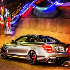 Night lights on. See you tomorrow. #C63 #AMG #mercedes #benz #instacar