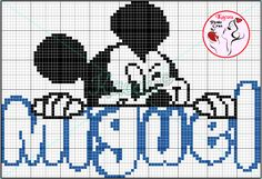 Miguel - monograma Mickey - Ponto Cruz.