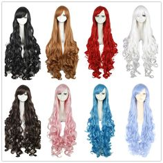 Free Shipping 100cm Synthetic Hair Long Curly White Blonde Pink Red Blue Brown Cosplay Wig Perruque-in Cosplay Wigs from Health & Beauty on Aliexpress.com | Alibaba Group