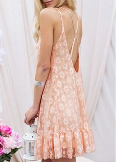 Pink Lace Criss Cross Backless Strappy Dress on sale only US$18.97 now, buy cheap Pink Lace Criss Cross Backless Strappy Dress at modlily.com