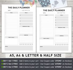 Daily Planner A5, A4 and Letter and Half Size. Optimized for print, so you can download and output from your home computer or local copy shop on the