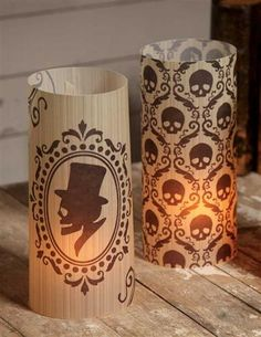 """GOTHIC SILHOUETTE LUMINARIES (SET OF 6) Macabre graphics are illuminated by the flickering candlelight from within. Candles not included. Bethany Lowe Designs. 11""""."""