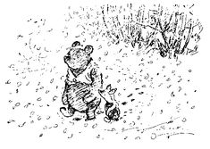 """All Pooh stories:      Winnie the Pooh: Look, l-look, Piglet. There's something in that tree over there.    Piglet: Is it one of the f-f-fiercer animals?    Tigger: Halloo!    Winnie the Pooh: [lifting Piglet] Yes. It's a """"jagular.""""    Piglet: W-What do """"jagulars"""" d-do, Pooh?    Winnie the Pooh: [as he drops Piglet] Well, """"jagulars"""" always call, """"Halloo!"""" And when you look up, they drop on you.    Piglet: I'm looking *down*, P-P-Pooh."""