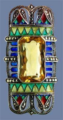 ART DECO Egyptian Revival Brooch 1925, citrine, plique a jour enamel & marcasite. German. Circa 1925