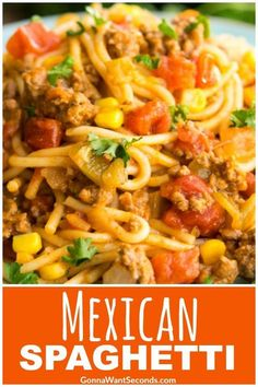 Our Easy Mexican Spaghetti Recipe is a delicious One Pot wonder! Filled with beef, pasta, tomatoes, corn and taco seasoning, this is a meal the whole family will love! Its also finished with a cheesy topping. Mexican Spaghetti is perfect for a busy weekni Spaghetti Recipes, Pasta Recipes, Dinner Recipes, Cooking Recipes, Taco Spaghetti, Special Spaghetti Recipe, Cocktail Recipes, Mexican Chicken Spaghetti, 12 Tomatoes Recipes