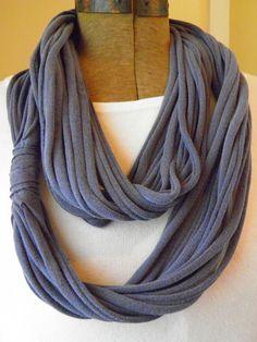 Jersey Knit Infinity Scarf: SMOKE BLUE.
