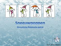 Digibordles sneeuwpoppen: klik op het grootste/kleinste getal    Digibordles voor kinderen van groep 1 en 2.