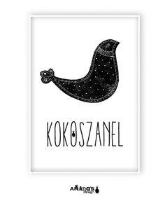 obrazy i inne - grafika-KOKO SZANEL - plakat ilustrowany (basic size) Henn Kim, Vintage Pictures, Black And White Photography, Handicraft, Retro Vintage, Diy Home Decor, Stencils, Diy And Crafts, Logo Design
