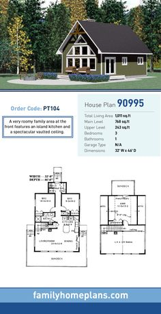 Cottage House Plan 90995 | Total Living Area: 1,011 SQ FT, 3 bedrooms and 1 bathroom. A very roomy family area at the front features an island kitchen and a spectacular vaulted ceiling. #cottageplan