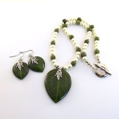 Necklace Set Green Leaf Cream Glass Pearls and by CinLynnBoutique