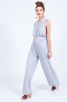 ICE BLUE 70S JUMPSUIT (XS - SMALL)
