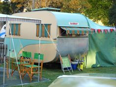 Vintage turquoise trailer