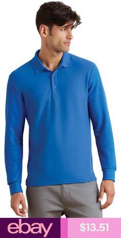 01df4ee6 Gildan Men's New Casual Moisture Wicking Long Sleeve Pique Polo Shirt.