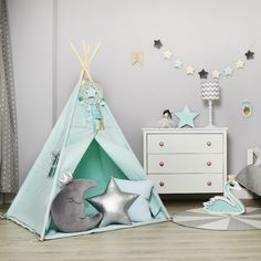 Teepee Silver Mint ⭐ with decorative accessories