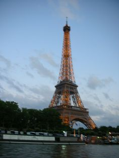 On the Seine River enjoying the night view of the Eiffel Tower.