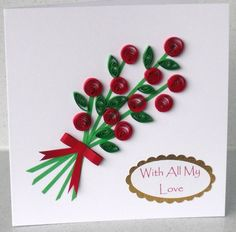 Valentines card with quilling flowers by PaperDaisyCards on Etsy
