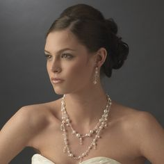Silver-Ivory Necklace Earring Set 8396 Silver Ivory