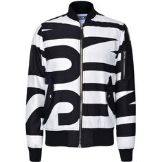 Moschino Stripe Bomber Jacket ($535) ❤ liked on Polyvore featuring men's fashion, men's clothing, men's outerwear, men's jackets, mens leopard print jacket, mens nylon bomber jacket and mens nylon jacket