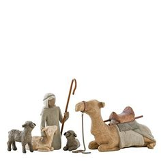 SUSAn lordi carved this 4 piece set to expand the willow tree nativity set. the tallest piece in the set is 7.5-Inch high. set includes shepherd with calf, 2 sheep and camel.