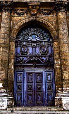 You don't see too many purple doors. From Saint-Paul-Saint-Louis church doors Quartier du Marais, Paris France Cool Doors, The Doors, Unique Doors, Windows And Doors, Door Knockers, Door Knobs, Beautiful Architecture, Architecture Details, Gothic Architecture