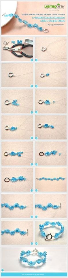 Simple Beaded Bracelet Patterns - How to Make a Crystal Beaded Bracelet with a Toggle Clasp by wanting