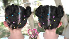 Peinado para niñas con ligas y chongos | Peinados faciles | May Lopez