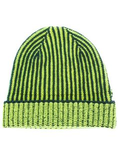 583f904a3a4 Green and black striped wool beanie hat from Paul Smith featuring a ribbed  knit and a