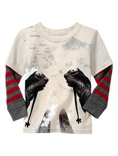 ski graphic t-shirt 2-in-1 striped graphic T | Gap size 5