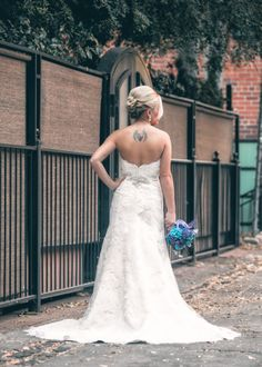 Bridal pictures. Wedding dress. Turquoise. Purple. Peacock. Old Sacramento. California.