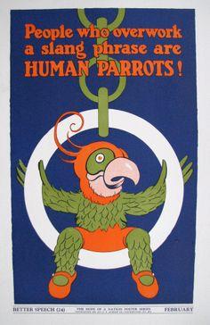 "1937 ""Better Speech"" Parrots WPA era Vintage Children's Poster"