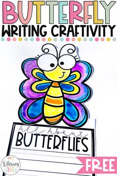 BUTTERFLY WRITING CRAFTIVITYAre you learning about the butterfly life-cycle? This writing craftivity is the perfect way to display all of the wonderful butterfly facts your little ones have learned. They also make a great bulletin board display! Dr. Seuss, Writing Lines, Cool Writing, Kindergarten Writing Activities, Literacy, Butterfly Life Cycle, Butterfly Facts, Alphabet, 1st Grade Writing