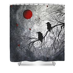Original Abstract Surreal Raven Red Blood Moon Painting Waterproof Polyester Fabric Shower Curtain 66W by 72H *** Details can be found by clicking on the image.