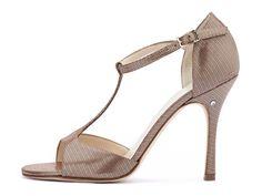 Sandalo FEDORA in Raso Lamé color rame. Tango shoes collection Evergreen