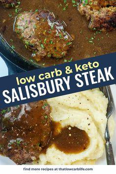 Low Carb Keto, Low Carb Recipes, Healthy Recipes, Keto Fat, Protein Recipes, Crockpot Recipes, Cooking Recipes, Salisbury Steak Recipes, Keto Dinner
