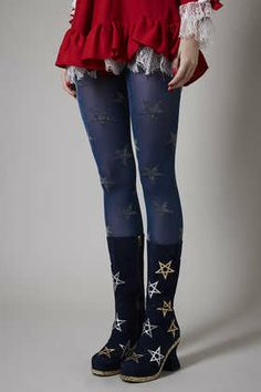 **Gold Star Lurex Tights by Meadham Kirchhoff