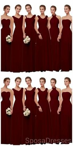 Mismatched Chiffon Dark Red Cheap Long Cheap Bridesmaid Dresses Online, WG630#bridesmaids #bridesmaiddress #bridesmaiddresses #dressesformaidofhonor #weddingparty #2020bridesmaiddresses