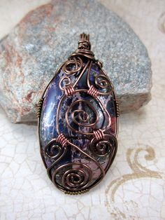 Letter from Atlantis--Varicite and Pyrite Purple Wire Wrapped Pendant