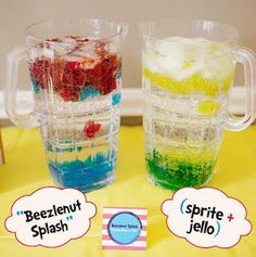 Seuss Party Drinks - lots of cute Dr. Seuss party ideas on this page Dr Seuss Birthday, Boy Birthday, Birthday Ideas, Birthday Stuff, Party Drinks, Fun Drinks, Beverages, Yummy Drinks, Colorful Drinks