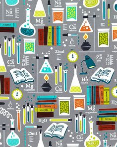 "LAB FABRIC -- quilting cotton -- Larger lab equipment is about 4 3/4"", from the 'Academic Club' collection by Maria Kalinowski of Kanvas Studio for Benartex."