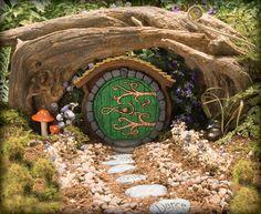 Green Hobbit/Fairy Door by HiddenWorlds on Etsy