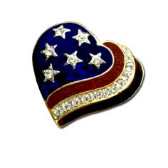 Heart of a Patriot Brooch/Pin - Patriotic red, white and blue enamel heart shaped brooch/pin with diamond like Swarovski Crystals. Gold-plate.  $15.00  http://www.starsandstripesproducts.com/heart-of-a-patriot-brooch-pin/