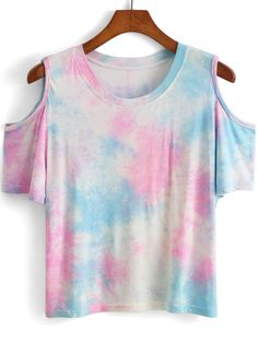 Shop Open Shoulder Tie-dye T-shirt online. SheIn offers Open Shoulder Tie-dye T-shirt & more to fit your fashionable needs.