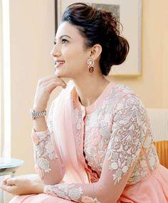 Gauahar (Gauhar) Khan at a promotional event. Anarkali Dress, Pakistani Dresses, Lehenga Choli, Beautiful Girl Indian, Beautiful Girl Image, Bollywood Celebrities, Bollywood Fashion, Indian Dress Up, Gauhar Khan