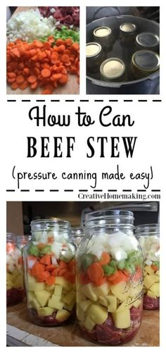 How to Can Homemade Beef Stew Canning beef stew recipe Canning Soup Recipes, Pressure Canning Recipes, Canning Tips, Pressure Cooking, Vegetable Beef Soup Canning Recipe, Canning Venison, Canning Food Preservation, Preserving Food, Canned Food Storage
