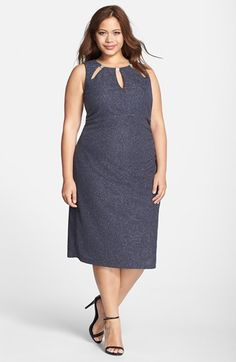 Eliza J 'Rhinestone Sparkle' Sleeveless Sheath Dress (Plus Size) available at #Nordstrom