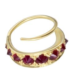 STUDDED MINI HOOP EARRING RUBY