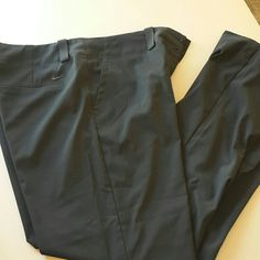 Nike women's golf pants Gently worn nike women's golf pants. Very tiny pin hole below left knee, never even noticed until I went to take pics.  These are great pants, just too big for me now.. My loss is your gain. ?? Nike Pants
