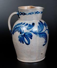 Fine Baltimore Stoneware Pitcher w/ Cobalt Floral : Lot 22